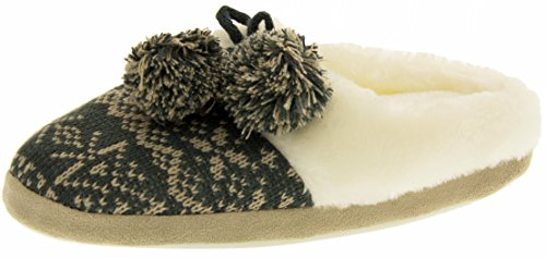 Footwear Studio Four Seasons Womens Wool Alpine Knitted Memory Foam Mule Slippers Grey or Red Grey