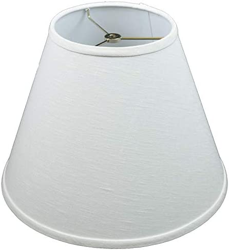FenchelShades.com Lampshade 7 Top Diameter x 14 Bottom Diameter x 11 Slant Height with Washer Spider Attachment for Lamps with a Harp Designer Linen Off White