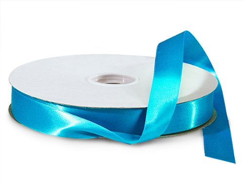 Turquoise Double Faced Satin Ribbon 7/8''x100 yds 100% Polyester (2 Spools) - WRAPS-DFS5340 by Miller Supply Inc