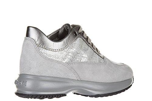 Hogan scarpe sneakers bimba bambina camoscio interactive grigio
