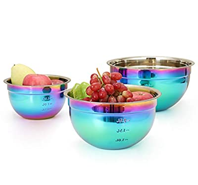 ROYDOM Rainbow Mixing Bowl Set, 18/8 Stainless Steel Salad Bowls 3 Piece Colorful Nesting Bowl for Prep Cooking, Baking, Food Preparation, Fruit Cake Measure storage container Includes 1.5L, 2.5L, 4L