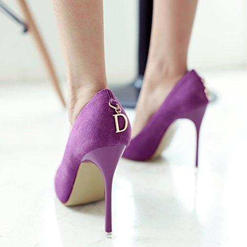 34 Avec Parfaitement Chaussures Bouche Aux Des Couleur 10 Une Chaussures Violet De Ultra haute Peu Profonde Unie Temprament Et Mince Satine Race Pointe Convient Centimtres La CB7Pxqz