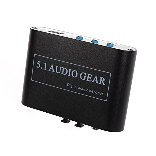 Panlong ® 5.1 Audio Gear Digital Sound Decoder Converter - Optical SPDIF/ Coaxial Dolby AC3 DTS to 5.1CH Analog Audio (Sound Converter)