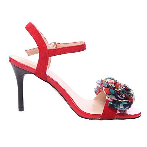 Enmayer Femmes Boucle Sangle Hauts Talons Ouvert Orteil Solide Occasionnel Parti Chaussures Stiletto Été Chaussures Sandales Rouge
