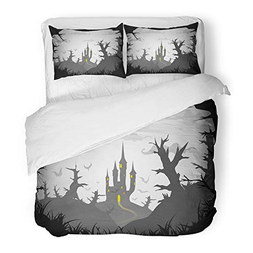 Emvency Bedding Duvet Cover Set King Size (1 Duvet Cover + 2 Pillowcase) Gray Pumpkin Halloween Black and White Spooky Castle A3 A4 Size Abstract Bat Cross Hotel Quality Wrinkle and Stain Resistant -