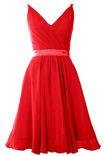 MACloth Women Pleated Chiffon Short Bridesmaid Dress Wedding Cocktail Party Gown Rojo