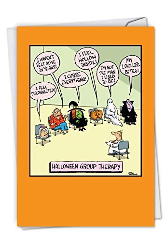 C6229HWG-US Halloween Group Therapy: Hysterical Halloween Card Featuring Monsters on Halloween Opening Up, with -