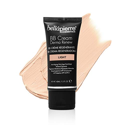 bellapierre BB Cream Derma Renew | 4-in-1 Concealer, Foundation, Moisturizer, and SPF 15 | Anti-Aging Formula to Prevent Fine Lines and Wrinkles | Non-Toxic and Paraben Free | 1.5 Oz - Light