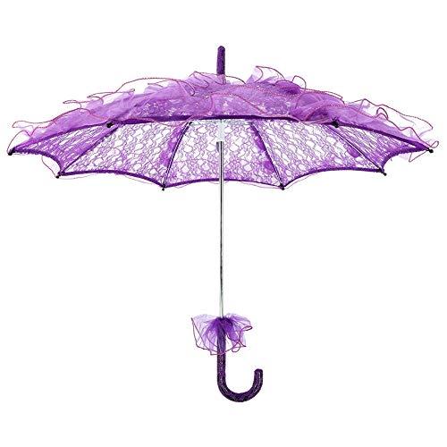 Fdit Bridal Lace Cotton Umbrella Parasol Costume for Wedding Parties Dancing Photography -