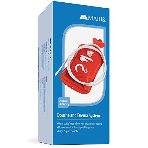 MABIS Reusable Hot Water Bottle, Enema and Douche Kit Helps to Alleviate Pain Associated with Constipation, Bloating, Aches and Pains, 2 Quart Capacity