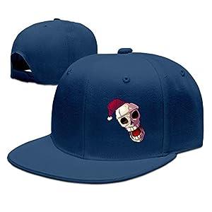 WLF Cartoon Skull In Santa Hat Adult Unisex Adjustable Flat Baseball Cap Snapback Hip-Hop Cap