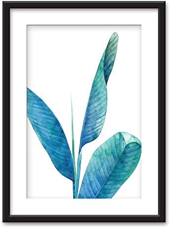 Framed Watercolor Style Tropical Plant Black Picture Frames White Matting