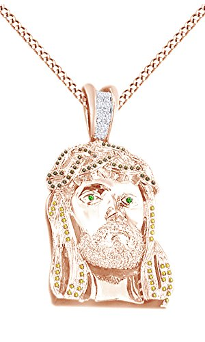 Simulated Multi Color CZ Men's Hip Hop Jesus Face Pendant In 14k Rose Gold Over Sterling Silver by AFFY