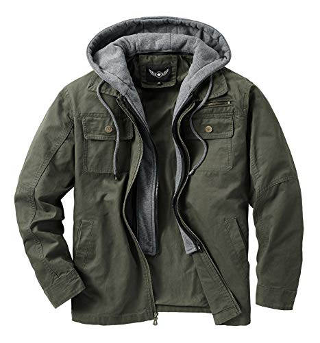 JYG Men's Casual Cotton Military Lapel Jacket with Removable Hood