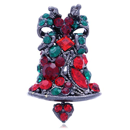 SoulBreeze Merry Christmas Jewelry Poinsettia Flower Tree Candy Cane Charm Brooch Pin (Bell A)