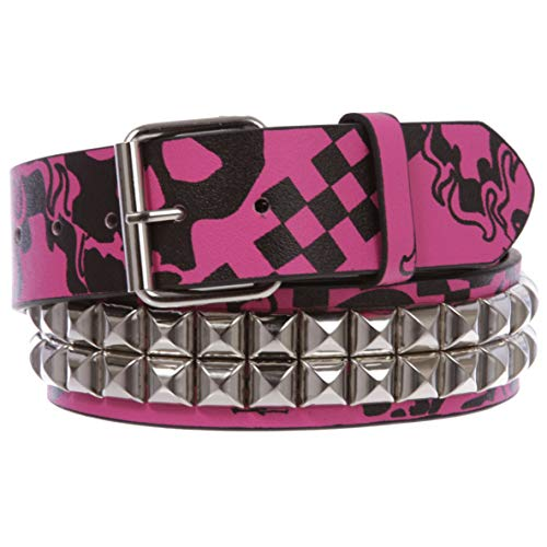 Snap On Art work Skull Cross Bone Tattoo Print Punk Rock Silver Star Studded Leather Belt, hot pink/black | M/L - 36
