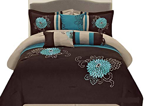 7 Pc Brown, Teal and Taupe Floral Striped Design King Size Comforter Set