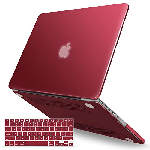 iBenzer MacBook Pro 15 Inch Case 2012-2015, Soft Touch Hard Case Shell Cover with Keyboard Cover for Apple MacBook Pro 15 with Retina Display A1398,Wine Red,MMP15R-WR+1