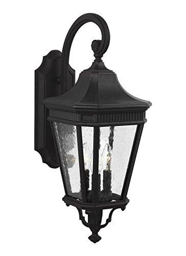Feiss OL5422BK 3-Light Wall Lantern, Black