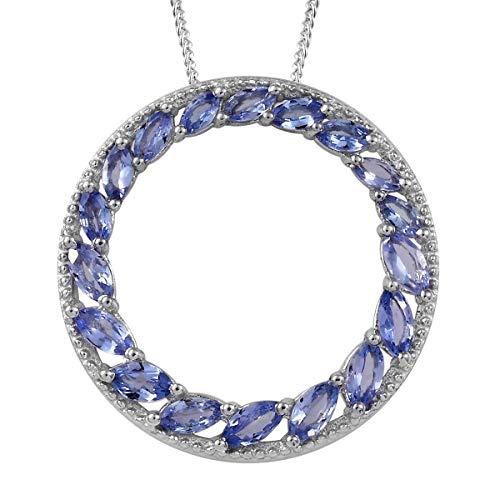 Tanzanite Circle Pendant Necklace for Women Jewelry 20