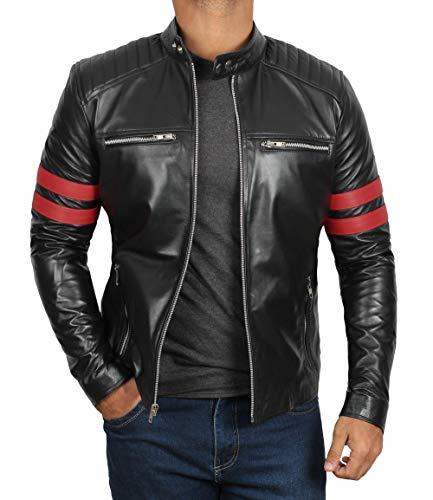 (Decrum Black Snap Tab Collar Moto Leather Jacket Mens | [1100317] Hunter, XXXL)