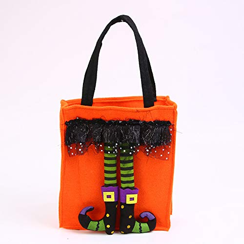 Halloween Candy Totes Bag - Reusable Candy Goodie Totes Baggies Party Favor Bags (orange)
