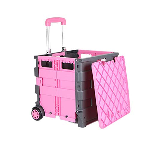 me Shopping cart to Buy a Food cart Small Pull cart Foldable Trolley car can sit Portable Shopping cart (Color : Pink, Size : 423232cm) ()