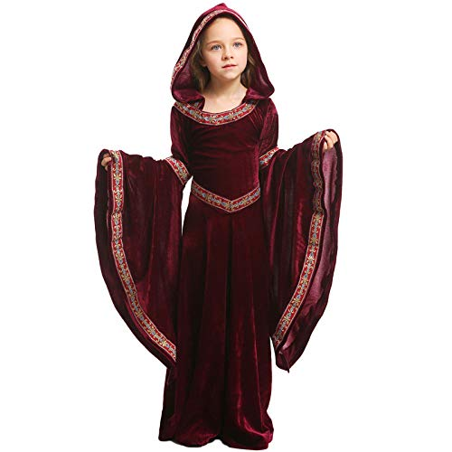 Medieval Wine Red Vampire Children Costume Halloween Girls Party Performance Show Clothes,Red-XS]()