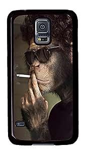Samsung Galaxy S5 Smoking Monkey PC Custom Samsung Galaxy S5 Case Cover Black