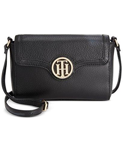 Tommy Hilfiger Women's Maggie-Flap Crossbody-Pebble Leather Black Crossbody Bag (Tommy Hilfiger Pebble)
