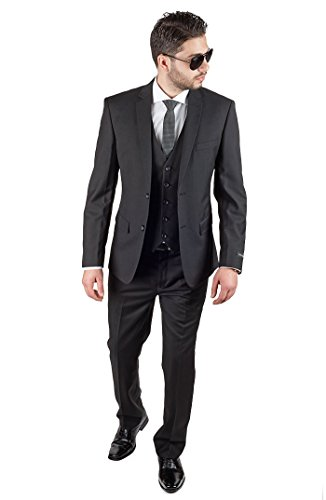 Slim Fit 3 Piece Vest Black Suit (36 Regular 30 Pants)