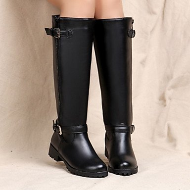 Buckle RTRY Zipper Thigh Office High Winter Fashion Boots EU40 Career Pu For UK7 Women'S Boots Shoes US9 Novelty Boots CN41 Heel Comfort Flat Fall Toe Round amp;Amp; wTpwr