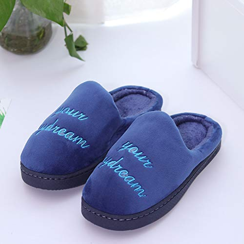 Color : Blue, Size : 2 Wanrane Indoor Cozy Warm Slippers Men and Women Couples Autumn and Winter Warm Cotton Slippers Indoor Home Cotton Slippers