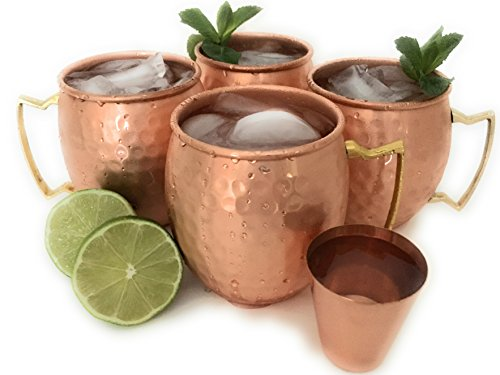 - Official Moscow Mule Copper Mug Gift Set by Sterling Chef with Pure Copper 16 Ounce Mugs Plus Bonus Shot Glass in 100 Percent Hand Hammered Copper - Gift Set of 4 Cups