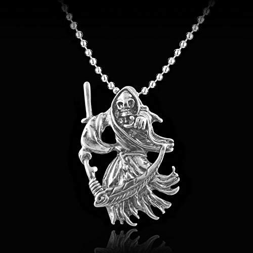 Devils Skeleton With Death Scythe Skeleton Necklace Cool Accessories Pendent Alloy Necklace Gift For Man Maxi Punk jewelry