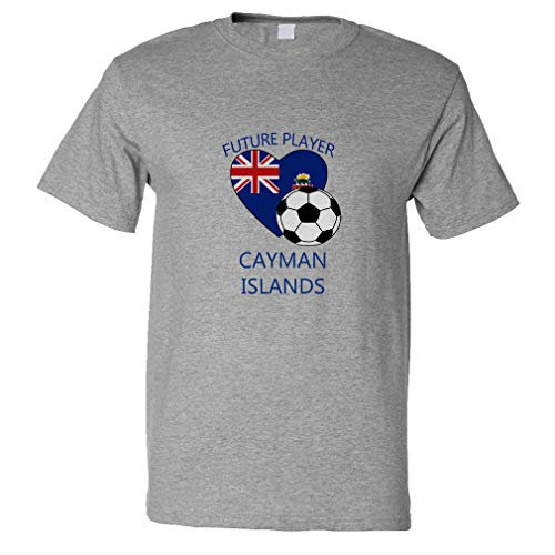 (Custom Funny Graphic T Shirts for Men Future Soccer Player Cayman Islands Cotton Top Oxford Grey Design Only Large)
