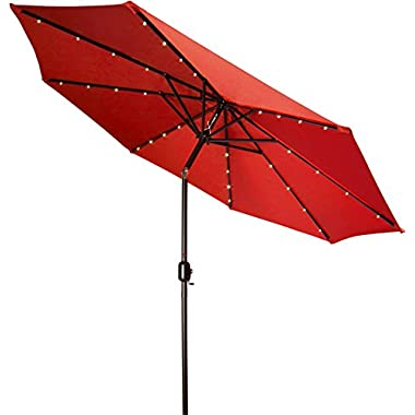 Trademark Innovations Deluxe Solar Powered LED Lighted Patio Umbrella, Red, 9-Feet