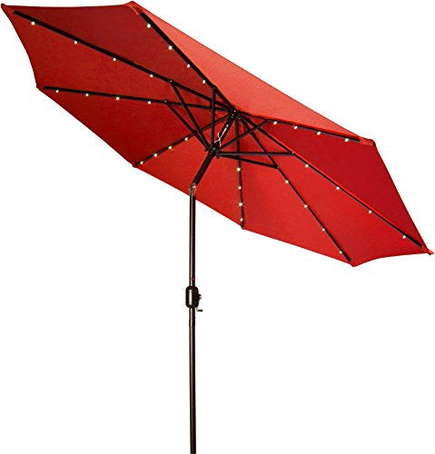 Deluxe Solar Powered LED Lighted Patio Umbrella - 9' - By Trademark Innovations (Red)