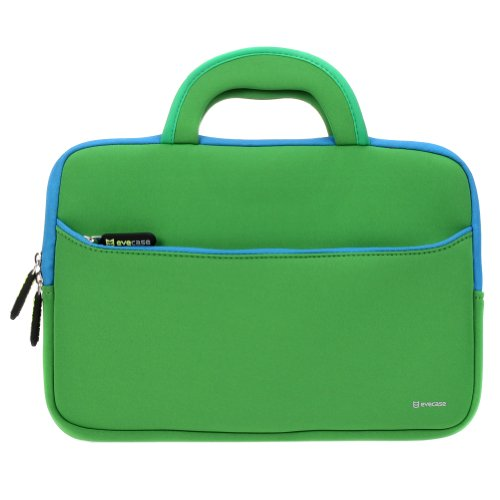 Evecase ASUS Transformer Book T200TA 12-Inch Tablet Neoprene Sleeve Case, Slim Briefcase w/ Handle & Accessory Pocket / Ultra Portable Travel Carrying Case Sleeve Portfolio Pouch Cover - Green
