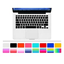 """HRH Black Korean Language Keyboard Cover Silicone Skin for MacBook Air 13 and MacBook Pro 13"""" 15"""" 17"""" (with or w/out Retina,Not Fit 2016 Macbook Pro 13 15 with/without Touch Bar) US Layout"""