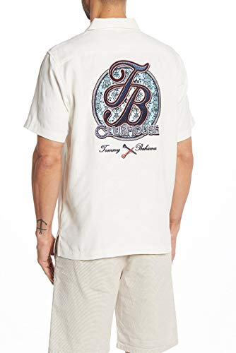 Tommy Bahama Island Zone Embroidered TB Clubhouse Silk Blend Camp Shirt (Color: Continental, Size ()