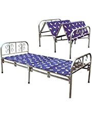 Foldable bed for camping and home with mattress, size 2×1 m
