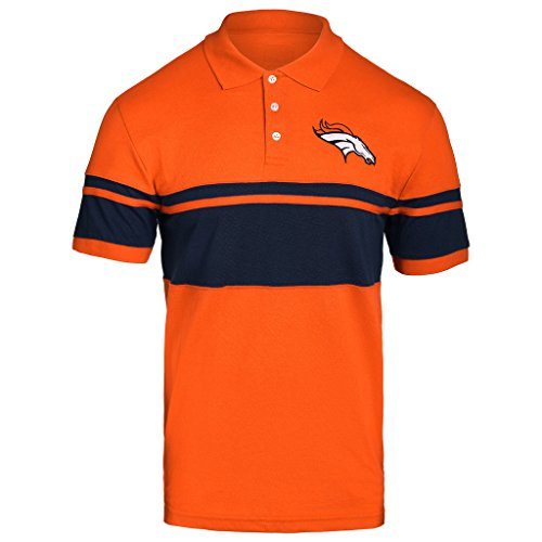 (FOCO NFL Denver Broncos Football Team Logo Cotton Stripe Polo Shirt, Team Color, Large)