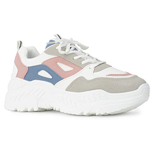 RF ROOM OF FASHION Women's Colorblock Dad Sneakers Lace-up Chunky Platform Shoes Pink Size.7