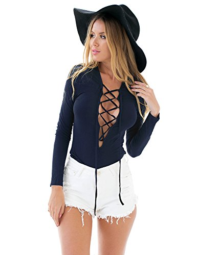 LookbookStore Womens Plunging Lace Up Bodysuit