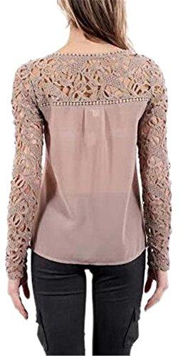 Freedi Women Sexy Hollow Floral Lace Sleeve Blouses Gorgeous Chiffon Shirts