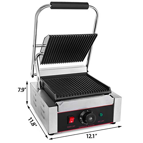 Happybuy Sandwich Press Grill 110V Panini Maker and Grill 1800W Commercial Panini Grill Durable Stainless Steel Construction with Adjustable Temperature Control Cooking Non Stick Surface Grooved Plates by Happybuy (Image #1)