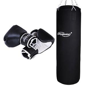 Physionics Boxsack mit Stahlkette 19kg in Schwarz im Set inkl. Boxhandschuhe...