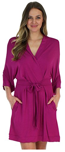 Pajama Heaven Women's Sleepwear Lightweight Bamboo Jersey Wrap Robe with Pockets, Magenta - Belt Attached