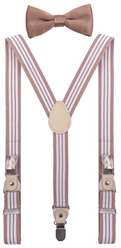 YJDS Kids Leather Suspenders and Bowtie Set Strong Clips Blush Stripes 39''